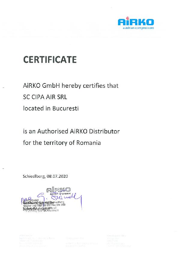 Certificat Airko