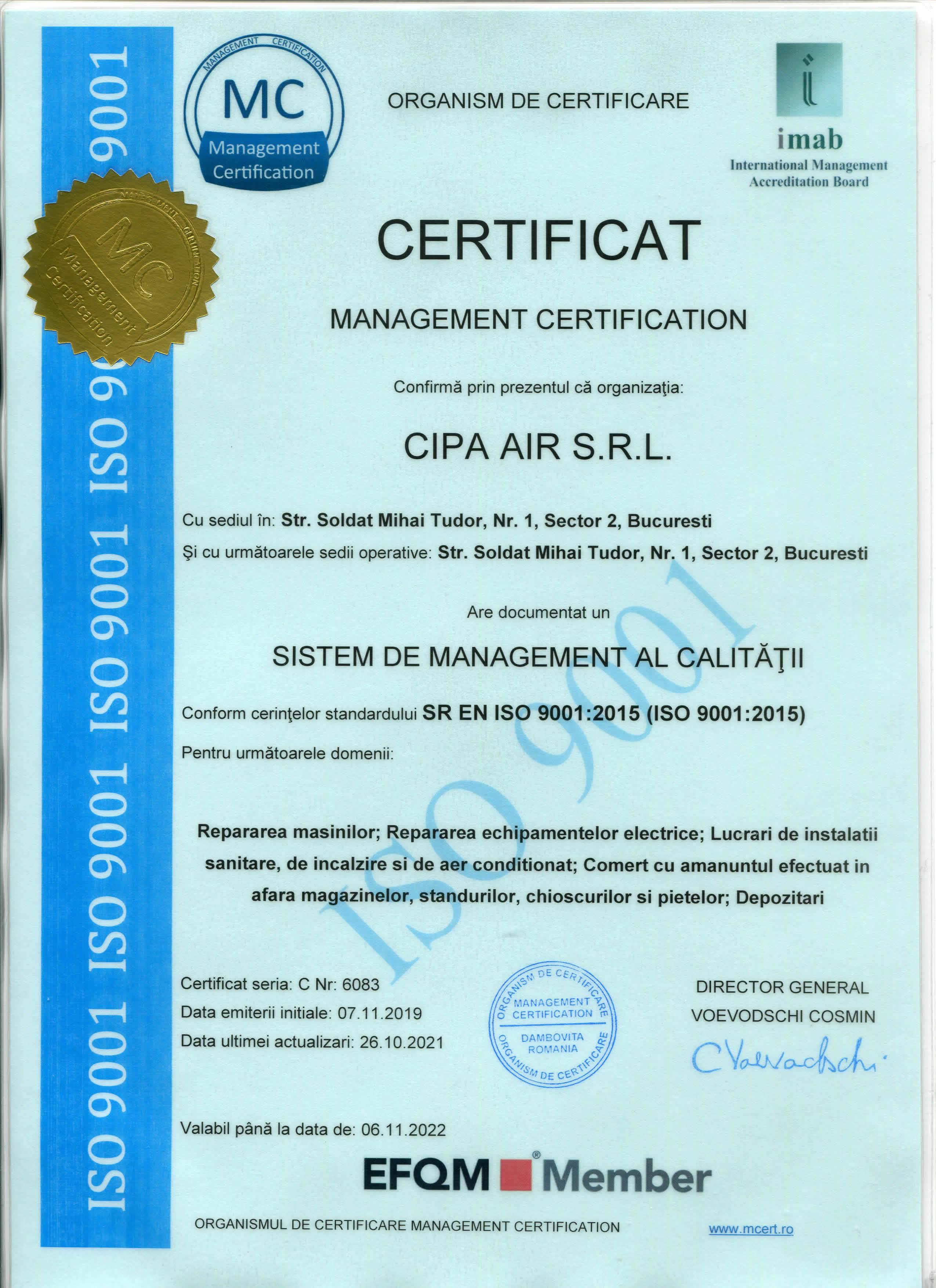 Certificat FirstAir