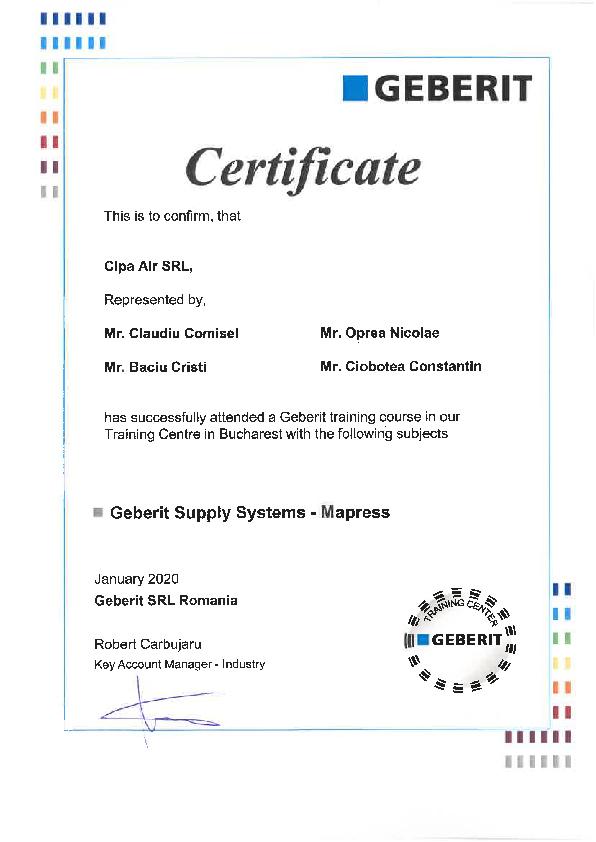 Certificat Geberit